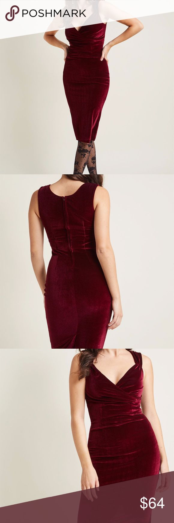 Modcloth's Lady Love Song Velvet Dress in Merlot Lady Love Song Velvet Dress in Merlot...From Modcloth: Who wouldn't want to croon a ballad when they see you in this sultry frock? In a melodic, shimmering maroon velvet material that caresses your curves, this dress complete with a crossover sweetheart neckline and gentle pleats at the bust, is made to impress. Step into your favorite jazz club for a martini and dulcet serenade!  This item is made by Rock Steady Clothing for Modcloth.   90%…