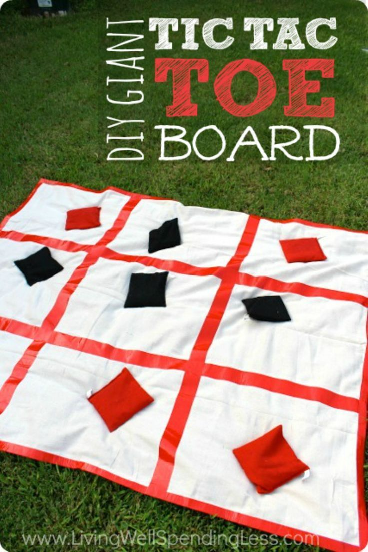 Ready for some more Summer Fun With Kids? This giant tic tac toe board brings a classic game to life in a BIG way!  It comes together in just a few minutes with just a few basic supplies for a fun game the whole family--or the whole neighborhood--will love!