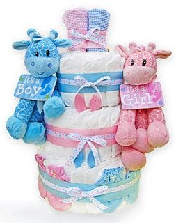 There is no better way to celebrate the birth of twins than to give the new mom plenty of diapers! This super cute diaper cake comes with 60 Pampers Swaddlers diapers and matching baby essentials that
