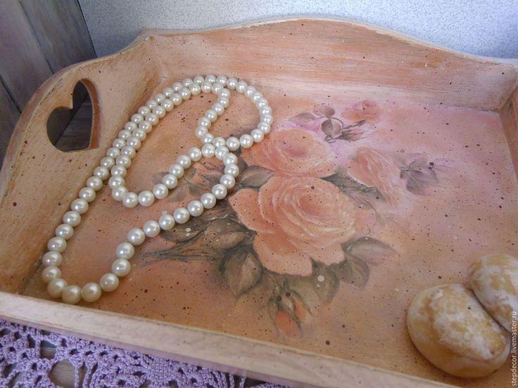 """Купить Поднос из сосны """"Воспоминание о розовом рассвете"""" - комбинированный, розовый, оранжевый, лавандовый, розы, поднос"""