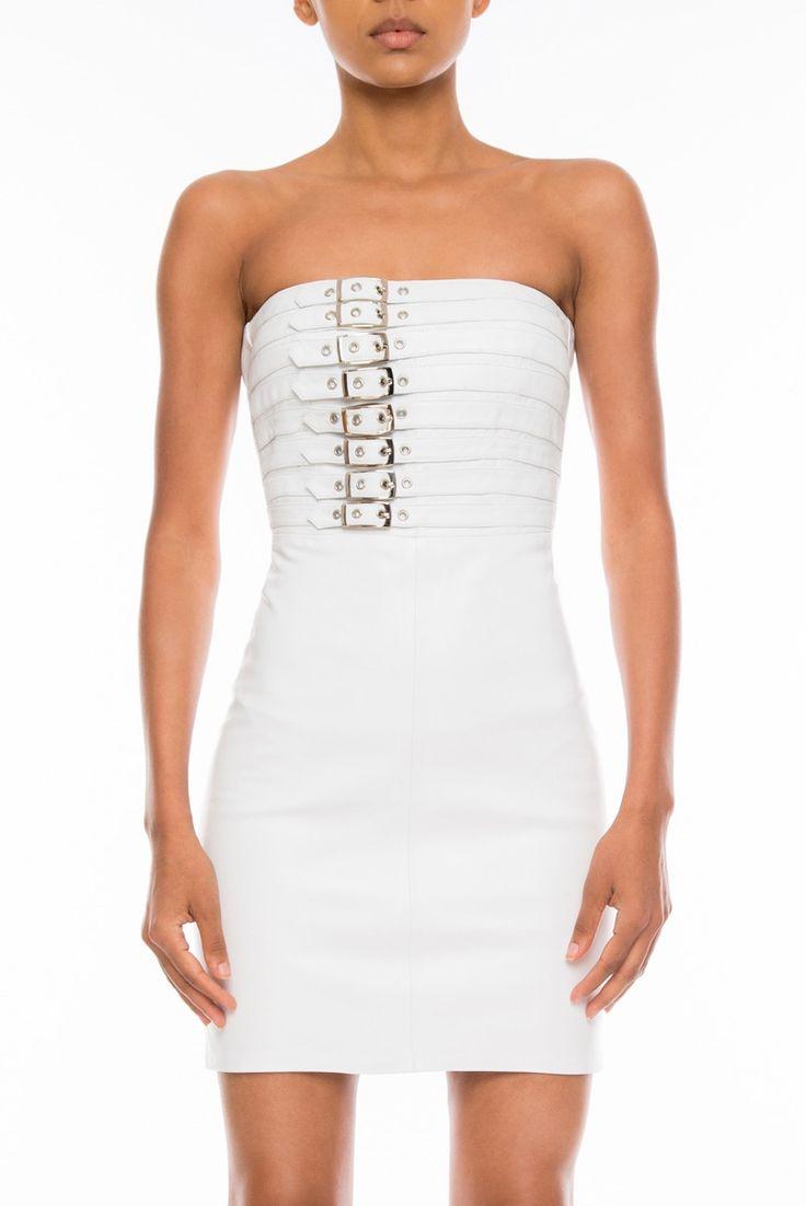 #Manokhi white leather dress ,available now online on www.manokhi.com