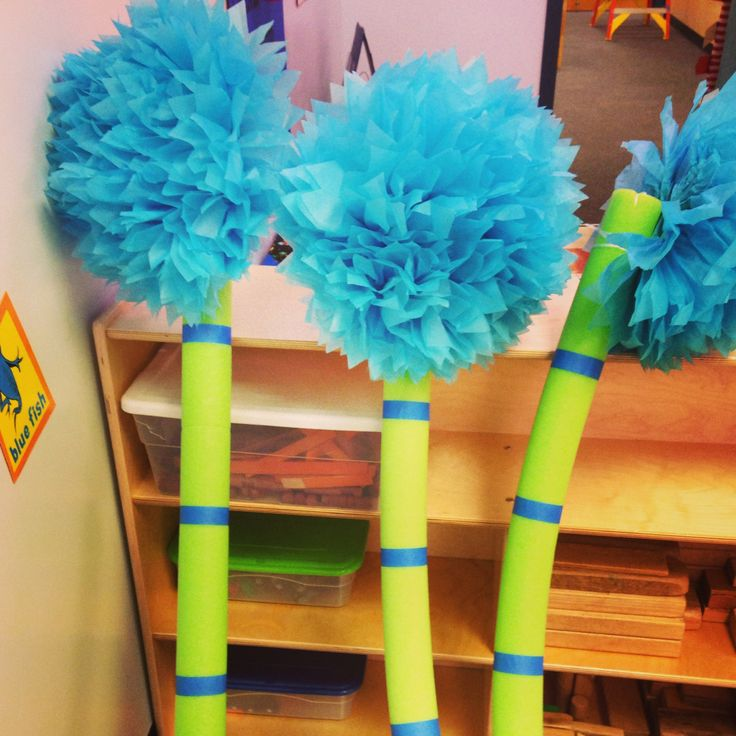 My homemade truffle trees! Pool noodles, blue tape, Pom ...
