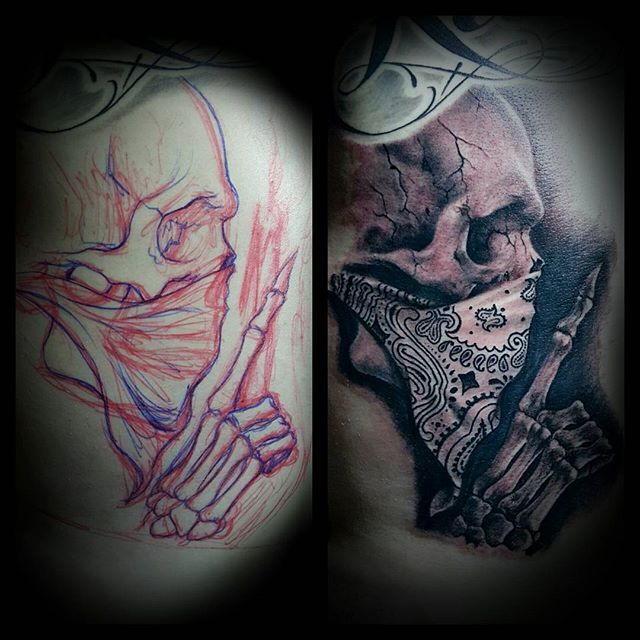 best 25 bandana tattoo ideas on pinterest gangster tattoos see no evil and chicano tattoos. Black Bedroom Furniture Sets. Home Design Ideas