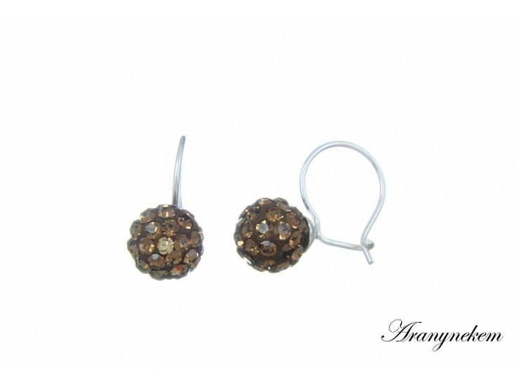 Barna Swarovski kristályos ezüst francia kapcsos gömb fülbevaló