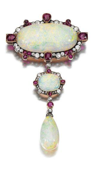 Opal, ruby and diamond brooch.