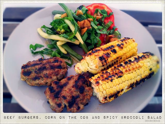 Beef Burgers, Corn on the Cob and Spicy Broccoli Salad