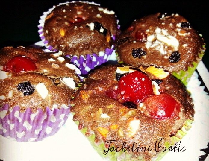 Chocolate muffin Filling and top (cherries, raisins and almonds)  http://instagram.com/p/pxG-XthgOd/