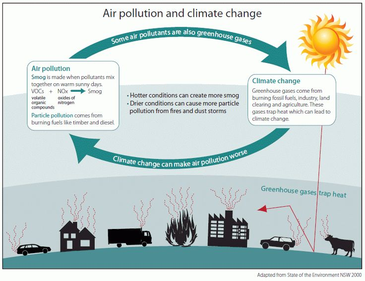 The occuring of climate change due to pollution