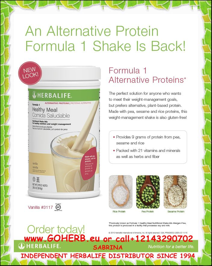 An Alternative Protein Formula 1 Shake Is Back! If you prefer alternative, plant-based protein, you'll be happy to know that Formula 1 Alternative Proteins* is here!
