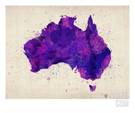 Australia Paint Splashes Map Premium Giclee Print by Michael Tompsett at Art.com