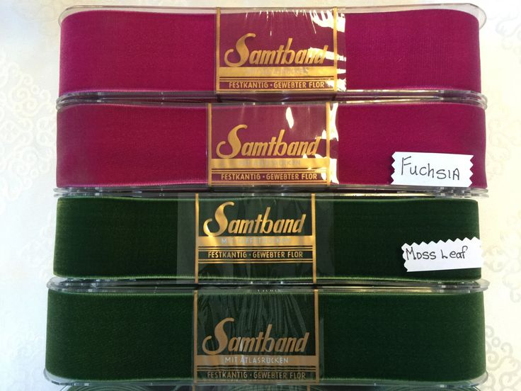 Samtband Velvet Ribbons. Made in Switzerland. 2 inch Wide.  Sold by the Spool of 10 yards. Fuchsia or Moss Leaf Velvet. by AnafrezNotions on Etsy