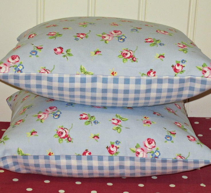 Shabby Chic Blue Pillows : 2 Pillow Cushion Covers 16 inch Blue Shabby Chic Style Rosebud fabric backed with Pale Blue ...