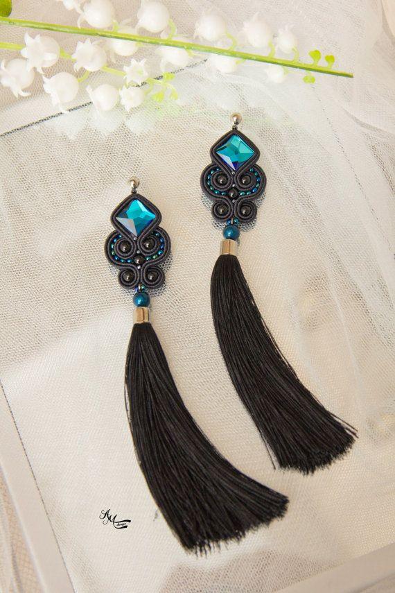 Black tassels soutache earrings Blue earrings by AMdesignSoutache