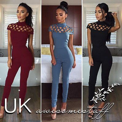 UK Womens Choker High Neck Caged Sleeve Playsuit Ladies Jumpsuit Size 6 - 18 -