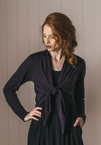 Merino Marni shrug aubergine | Sustainable Fashion