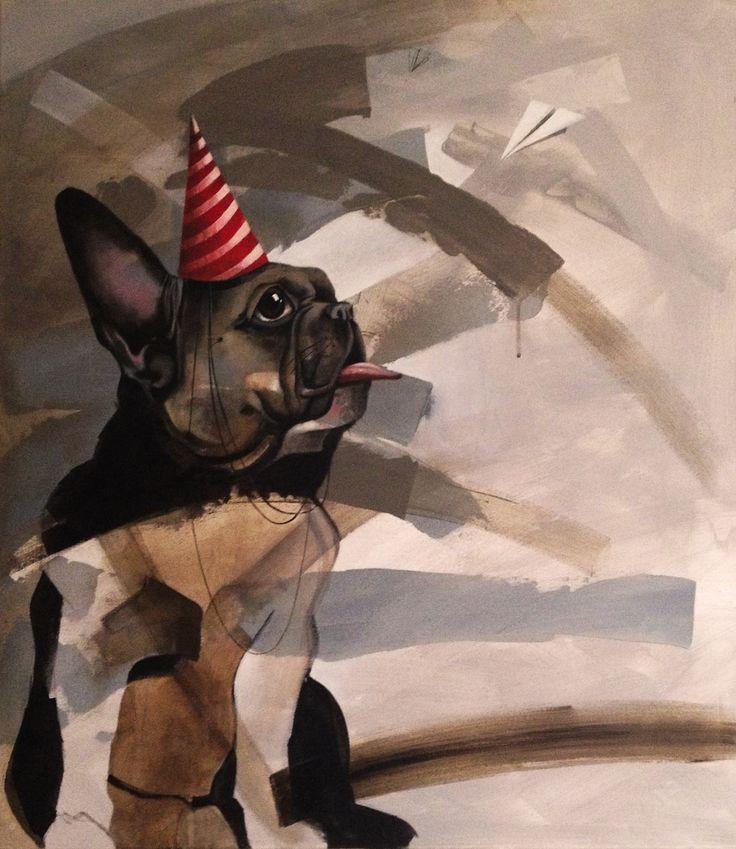 Dogs and the paper planes, painting, acrylic on canvas || Psy i papierowe samoloty , obraz, akryl na płótnie