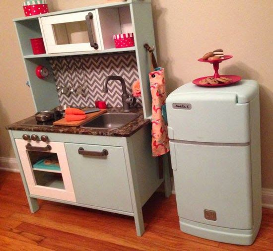 Mommo Design Ikea Play Kitchen Makeovers Lovin The Idea Of Painting My And Adding A Back Panel So Kids Can T Drop Stuff Behind It