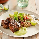 Grilled Lamb Loin Chops with Tomato and Coriander Rice