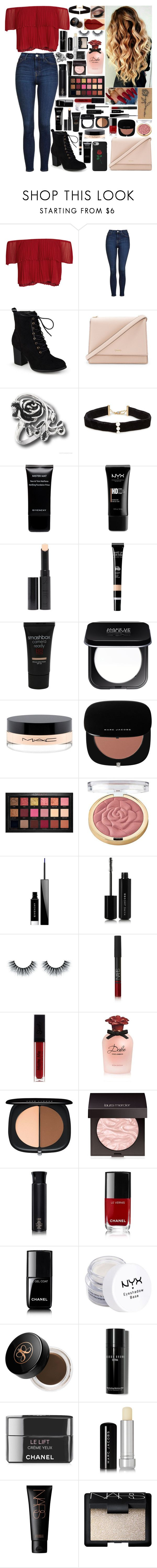 """""""English Rose"""" by girlygirlprincess ❤ liked on Polyvore featuring Keepsake the Label, Topshop, Journee Collection, Kate Spade, Anissa Kermiche, Givenchy, NYX, Surratt, Smashbox and MAC Cosmetics"""