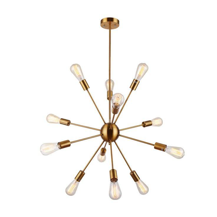 Sputnik Chandelier - Housen Solutions 12 Lights Pendant Lighting, Brushed Brass Pendant Chandelier, Retro Ceiling Light Fixture, UL LISTED