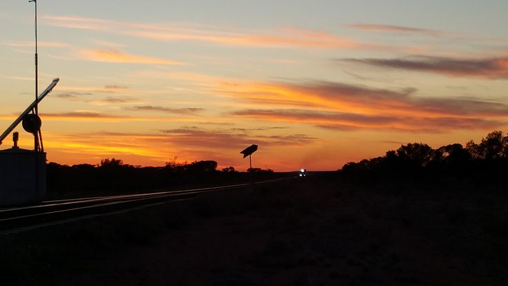 Sunrise at Wynbring on the first morning of daylight saving for 2015. Wynbring is in South Australia on the Trans Australian Railway.