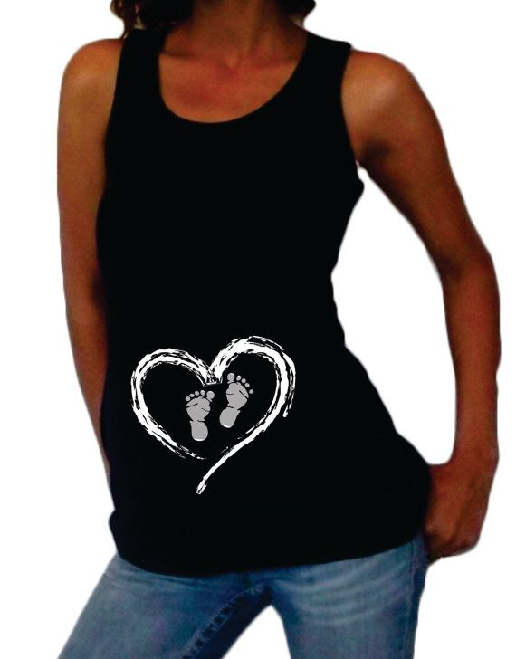 Very Cute Heart and Footprints maternity tank top or shirt. Black. Our shirts are true maternity shirts made with select