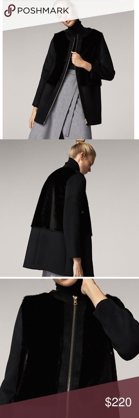 Massimo Dutti Black Wool/Fur Contrast Coat  36 NWT I bought this beautiful coat from Massimo Dutti but lost the receipt and they wouldn't give me store credit 🤦🏽‍♀️  Bought it for 325$ but selling for less and cutting my losses. Massimo Dutti Jackets & Coats