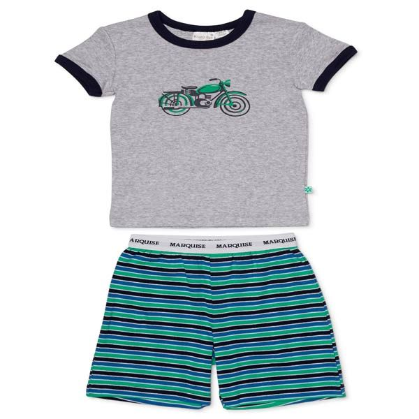 The Marquise motor bike pjs. grey tee and navy green stripe shorts. Perfect for Summer night!  Marquise has lovingly provided Australian babies with their first clothes and nursery accessories since 1932.  With dedication Marquise provide comfort and classic quality we look forward to caring for generations to come.  Warm machine wash and do not tumble dry.