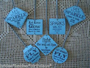 Kraft-Blue-Wedding-Favour-Gift-Tags-Sparklers-Bomboniere-PERSONALISED-Vintage