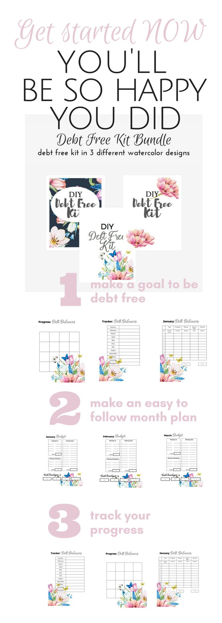 Building you Budget Binder or just need some printables to get all your finance stuff in one place? This kit is just what you need, track your Debt Snowball setup your Monthly Budget and get started with the cash envelope system