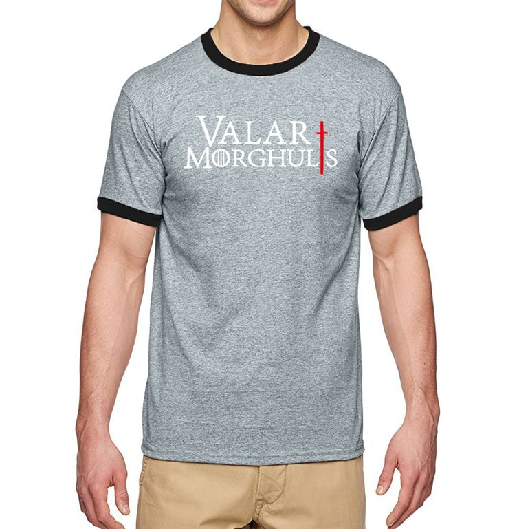 Hot Sale Game of Thrones-Valar Morghulis Male T-Shirts 2017 Summer Short Sleeve Shirt 100% Cotton Men Ringer T Shirt For Fans #Affiliate