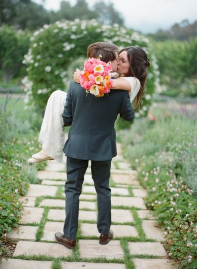 carrying the Bride to happily ever after | Photography by esthersunphoto.com, Florals by http://floravidasb.blogspot.com  Read more - http://www.stylemepretty.com/2013/09/26/san-ysidro-ranch-wedding-from-esther-sun-photography/