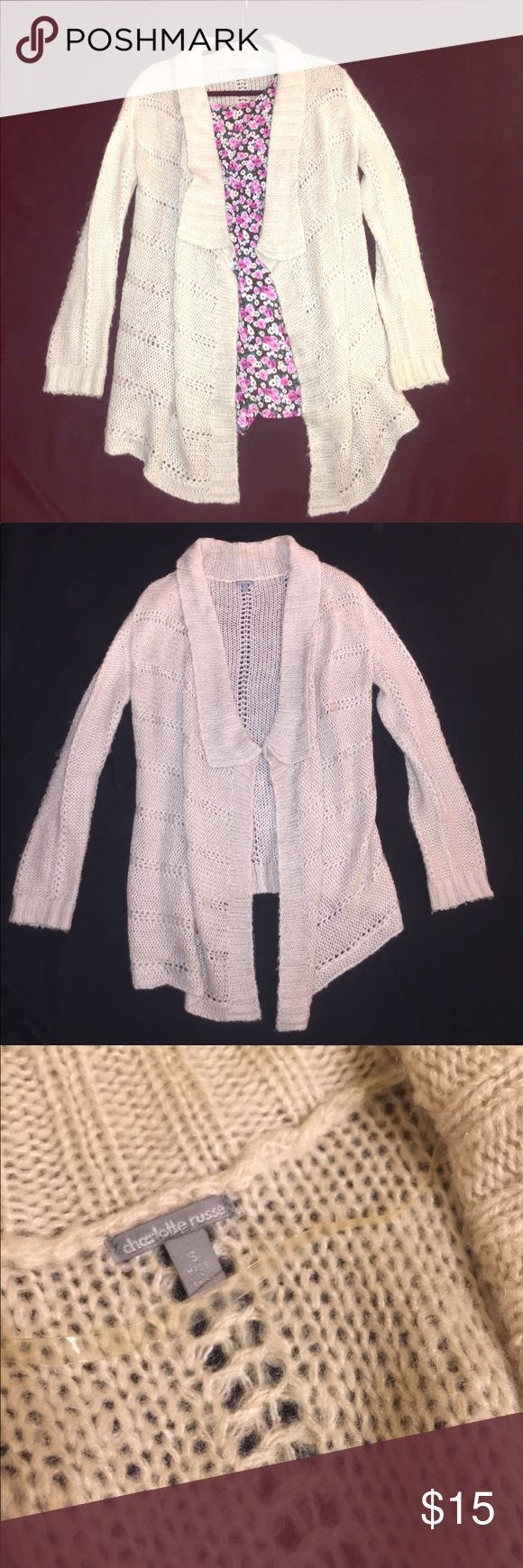 Charlotte Russe cream cardigan Charlotte Russe cream cardigan! Worn only a few times. Back falls to just below the butt, and front falls to about mid-thigh. Sleeves are full-length. Charlotte Russe Sweaters Cardigans