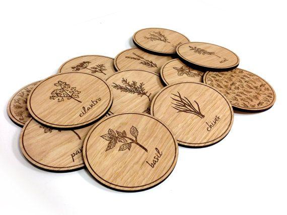 wood engraving ideas. herb illustration wood engraved coasters - set of 12 engraving ideas 2
