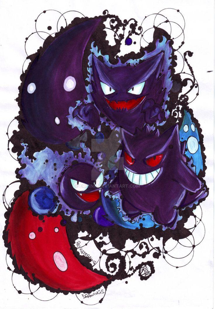 Gastly Haunter And Gengar - Pokemon / Re scan by eREIina.deviantart.com on…