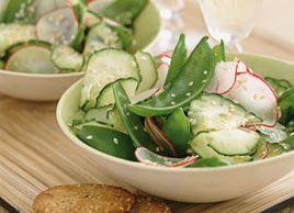 Salade de pois mange-tout, concombre et radis | Recettes