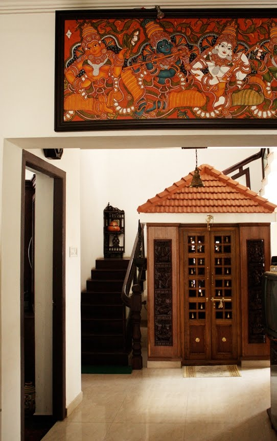 Artnlight tradition recreated in a home in palakkad - Pooja room door designs in kerala ...