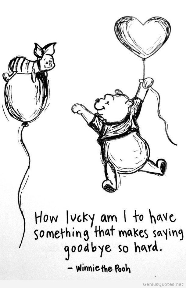 How Lucky am I to have something that makes saying goodbye so hard! - Winnie the Pooh