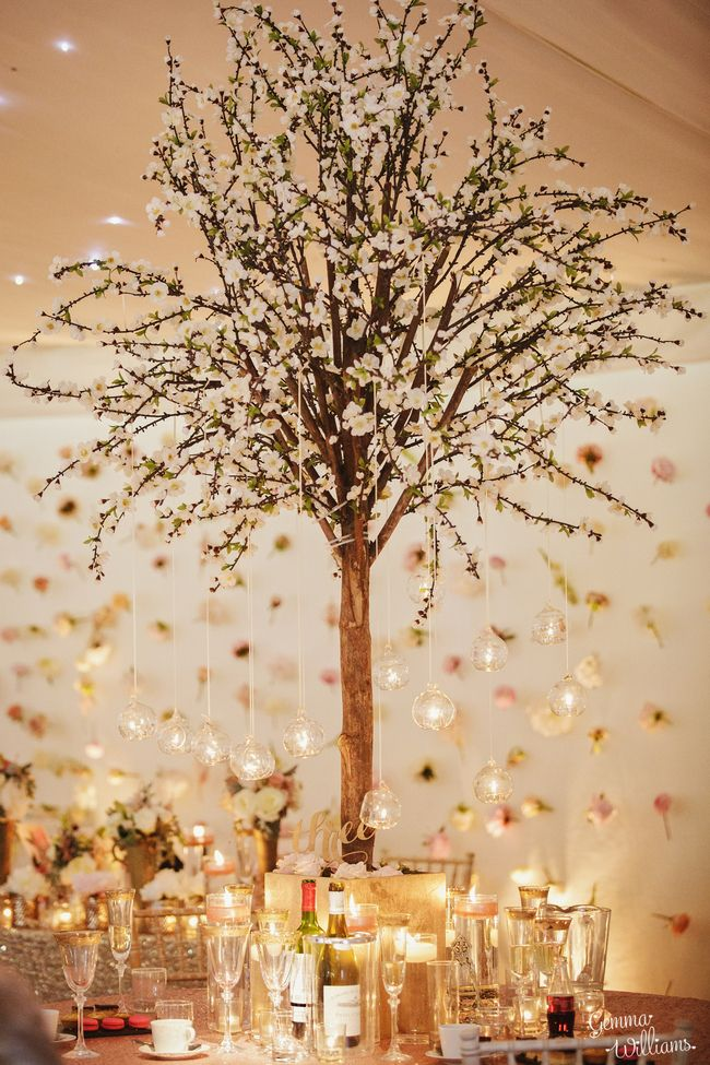Blossom tree table centrepieces by Red Floral - Iscoyd Park Wedding Photographer Gemma Williams Photography www.gemmawilliamsphotography.co.uk #iscoydpark #iscoyd #wedding #shropshire