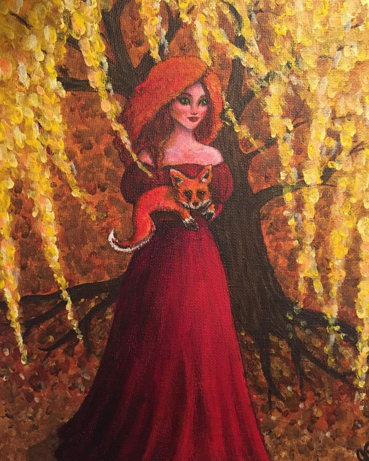 Finished! Autumn walks with a fox! #fox #woman #art #autumn #walkswithfox #weepingwillow #red #gold #outdoors #canmoreartist #acrylic #painting #acrylicpainting