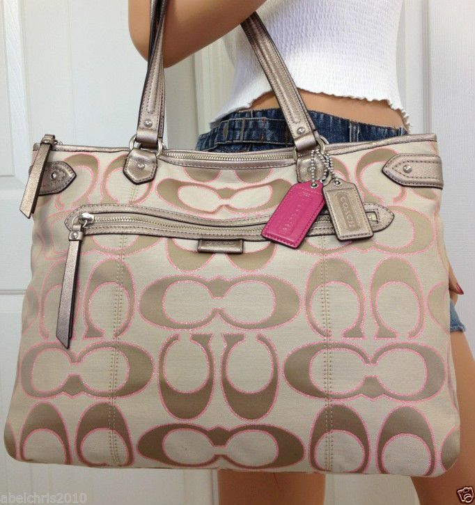coach crossbody bag outlet 9t5p  Nwt Coach Khaki Pink Signature Poppy Style Large Handbag Tote Shoulder Bag  Purse #Coach #