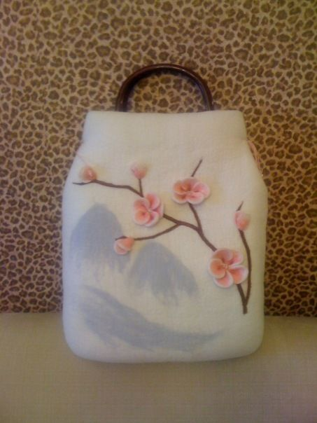 Felted Purse, cute oriental design, just needs to be a lil wider