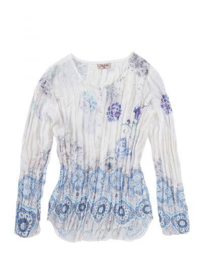 Jeans-Fritz - Crash-Bluse mit Knopfleiste & Print: Category: Damen > Oberteile > Blusen > Langarm Item number: 0099476002 Price:…%#Mode%