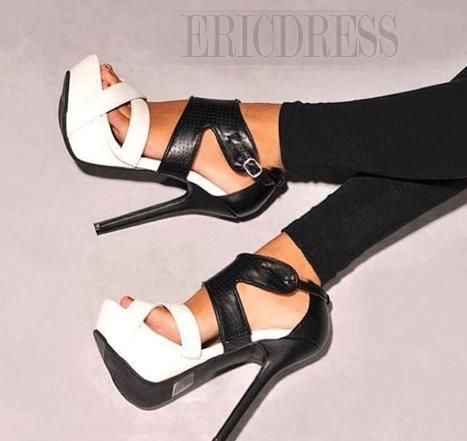 Fashionable Black & White Coppy Leather High Heel Sandals  Stiletto Sandals