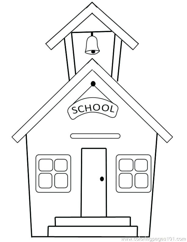 Building Coloring Pages School Building Coloring Pages For House