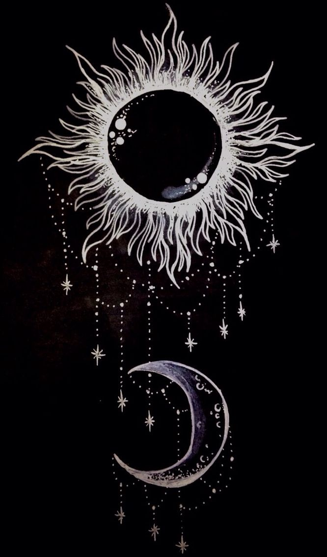 Moon/sun, black, drawing,