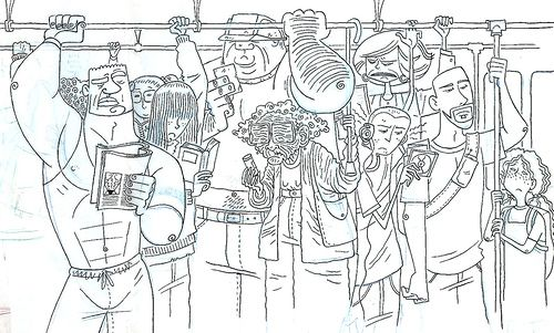 Image result for crowded mumbai local train art inside