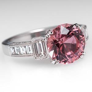 Pink Tourmaline Engagement Ring w/ Diamonds 18K White Gold