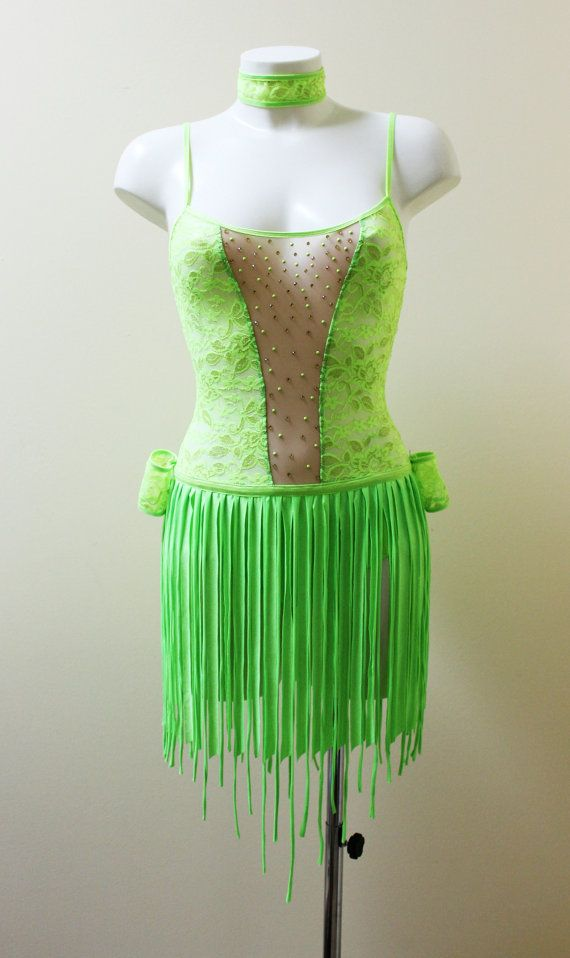 KAT - this is a V panel I was talking about. :0) Green UV dance dress for performance show go go by CrinolinAtelier, €135.00
