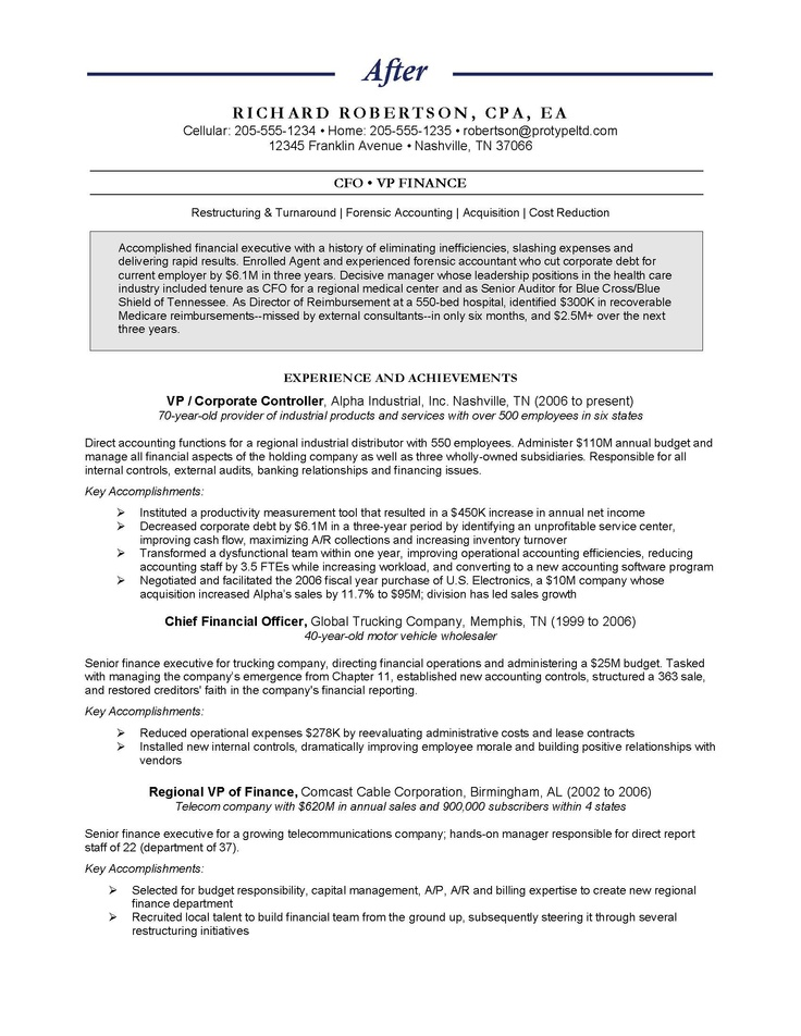 27 best Resume Samples images on Pinterest Executive resume - chief financial officer resume